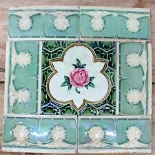 Vintage Set of Rose Flower & 6 Border Design Art Nouveau Majolica Tiles ENGLAND