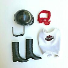 Harley Davidson Motorcycle Fashion Accessories for Barbie Doll Boots Helmet