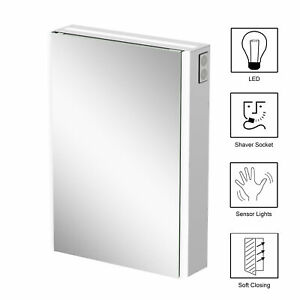 Bathroom Mirror Cabinet Illuminated Wall Mounted Bluetooth Mains Powered 500x700