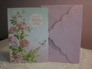 Carol's Rose Garden - Wedding - A White Heart with pink roses on the front