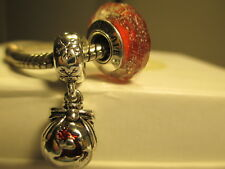 2 Pandora Silver 925 Ale Red Shimmer Disney Reindeer Christmas Dangle Bead Charm
