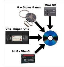 RIVERSAMENTO/RIVERSAGGIO PELLICOLE 8 E SUPER 8 MM VHS VHSC Hi 8 MINI DV AUDIO