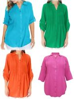 New Ladies Woman Within Cotton Shirt Pintuck Roll Sleeve Blouse Plus Size 18-44