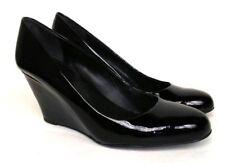 "VIA SPIGA Sz 8/39 Black Patent Leather 3"" Wedge Round Toe Women's Shoes"