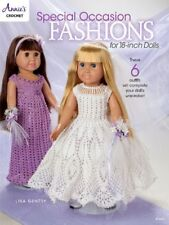 "Crochet Pattern Book SPECIAL OCCASION 18"" Doll FASHIONS ~ 6 Dresses / Bride +"