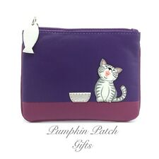 Soft Leather PURPLE Coin Zip Keyring Purse Pouch MALA Ziggy Cat 4153_99 Gift