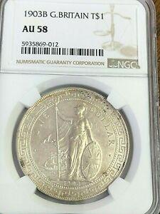 1903 B Great Britain Trade Dollar $1 Silver, KM#T5, NGC AU-58