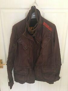 Lovely Superdry Brown Heavy Duty Black Watch Coat Size Medium