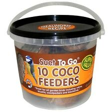 20 Suet To Go Natural Coconut Feeder with Real Mealworm 2 x 10 Wild Bird Food