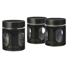 Maxwell & Williams Cosmopolitan Colours Canister Black Set 3 600ML Gift Boxed