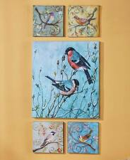 5-Pc Botanical Birds Canvas Wall Art Spring Scrolled Branch Nature Lovers Decor