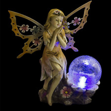 Solar Powered Lawn Ornaments Garden Statue Fairy With Globe Outdoor Patio Decor