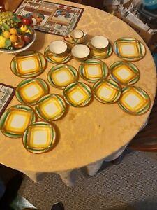 Vernonware Homespun Pattern Bowls, Plates, Saucers, Teacups, Creamer Lot (18)