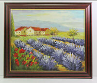 Landscape Lavendar Country Scene 20 x 24 Oil Painting on Canvas w/ Custom Frame