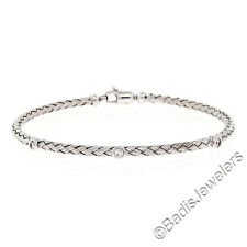 "NEW Italian 14K White Gold 6.5"" Diamond Stackable Braided Cable Bangle Bracelet"