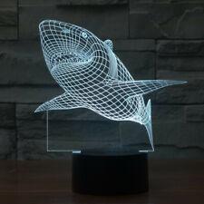 3d Led Light Night Creative Shark Kids Table Lamps Hologram Illusion 7 Colors