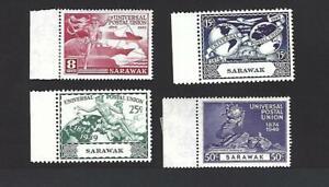 SARAWAK 1949 75th ANNIVERSARY OF U.P.U. SET OF 4 STAMPS, SG. 167 - 170, MNH