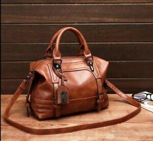2020  Women Bag Oil Wax Leather Handbags Luxury Lady Handbags Boston Bag Sing