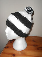 Knitted bobble hat,black and white newcastle united ,Notts county,Football.