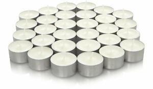 🔥100 x White Unscented 8 Hour Burn Tea Light Candles -Long Burn Time MADE IN EU