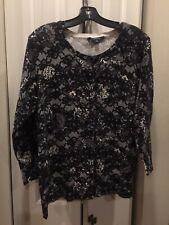 Chadwicks, Cardigan, Damask, Lace Design, Black & White, XL, Sweater