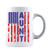 Vintage USA Flag Aunt Mug Christmas or Birthday Gift Idea for Aunt
