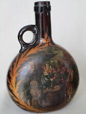 Early Nineteenth-Century Dutch-Painted German Bocksbeutel Amber Glass Bottle