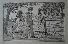 "Alsace - Dessin Encre   - "" SCENE DE FOLKLORE ALSACIEN  ""  Signé"