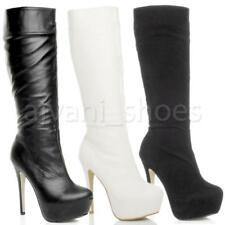 Botas de caña alta de mujer negros de tacón alto (más que 7,5 cm)