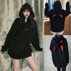 Kawaii Clothing Harajuku Demon Wings Hoodie Sweatshirt Punk Gothic Black Devil
