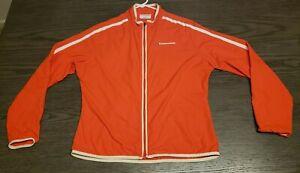 Womens Cannondale Cycling Jacket Orange White Stripes Size L SMOKE FREE CLEAN