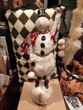 Vintage Christmas glittered whimsical Snowman Large Rare
