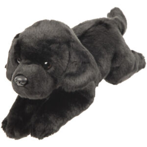 Realistic  Black Labrador Laying Soft Toy 30cm by Suki Gifts