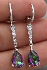 18K White Gold Filled- 1.5'' Waterdrop Purple MYSTIC Topaz Gems Wedding Earrings