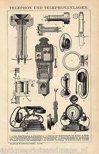 Antique print Telephony telephone phone 1895 stampa antica Telefonia Telefono