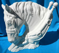 DRAFT WORK HORSE WITH HARNESS BUST     CERAMIC BISQUE HORSES U-PAINT DRAFT