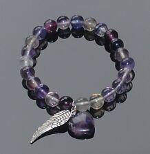 Fluorite Bead Bracelet with Heart & Angel Wing