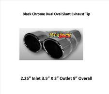"""Brand New Black Chrome Dual Exhaust Tip Weld On 2 1/4"""" IN 3 1/2 X 3"""" Out"""