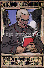 Vintage German WW1 Propaganda Poster Good Books Comrade 18x24