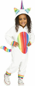 Rainbow Unicorn Girls Costume Hooded Jumpsuit Toddler NEW