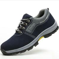 Mens Breathable Steel Toe Work Comfy Boots Walking Hiking Lace Up Casual Sneaker