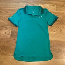 Nike Dri-Fit Green ColorDry Tennis Polo Short Sleeve Shirt Mens Xs Extra Small