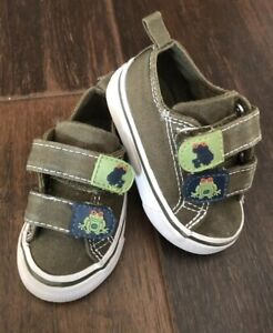 Gymboree Boys Jungle Explorer Frog Canvas Hook Green Hard Shoes Spring Baby 3
