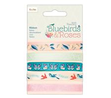 Bluebirds & Roses - Printed Ribbon - 5 x 1 Metre