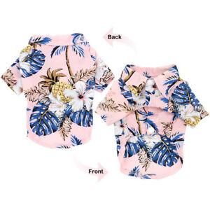 Pet Puppy Breathable Hawaii Summer Beach Dog Cat T-Shirt Clothes Vest Pink Black