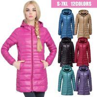 Womens Warm 90% Duck Down Coat Packable Ultralight Hooded Jacket Puffer Overcoat