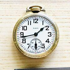 Vintage Rare Elgin BW Raymond Railroad Model 21J 16s 10K GF Pocket Watch