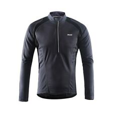 Mens Cycling Jerseys Long Sleeves Half Zipper With Pockets Reflective Breathable