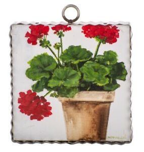 Round Top Collection NWT - Mini Pot Of Geraniums Print - Metal & Wood