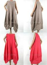 Linen Plus Size Sleeveless Dresses without Pattern for Women
